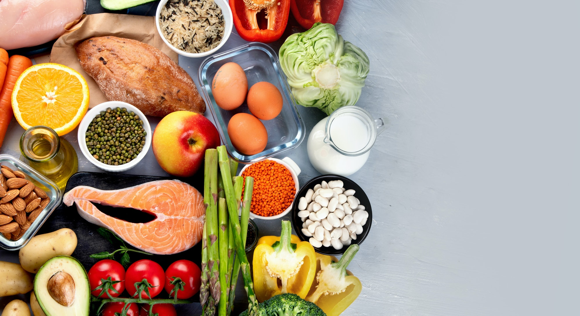 Balanced diet food background.. Nutrition, clean eating food concept. Diet plan with vitamins and mi...