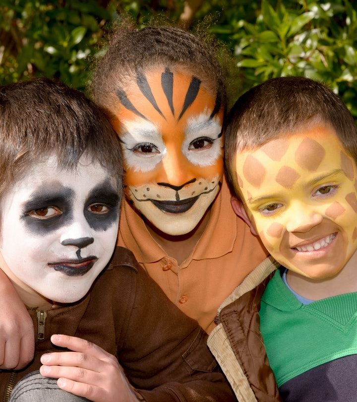 little kids with face painted