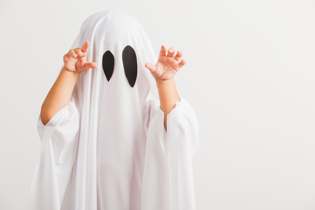 Funny Halloween Kid Concept, little cute child with white dressed costume halloween ghost scary, stu...