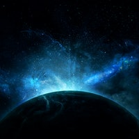 beautiful abstract illustration, planet in space and shining stars