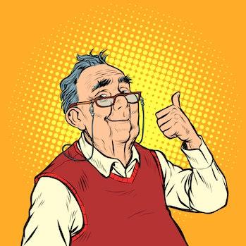 joyful elderly man with glasses thumb up like. Pop art retro vector illustration vintage kitsch