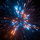 Abstract bright creative cosmic background. Hyper jump into another galaxy. Speed of light, neon glo...