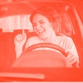 Only pop star hits. Photo of positive cheerful girl drive ride auto stay traffic jam listen radio so...