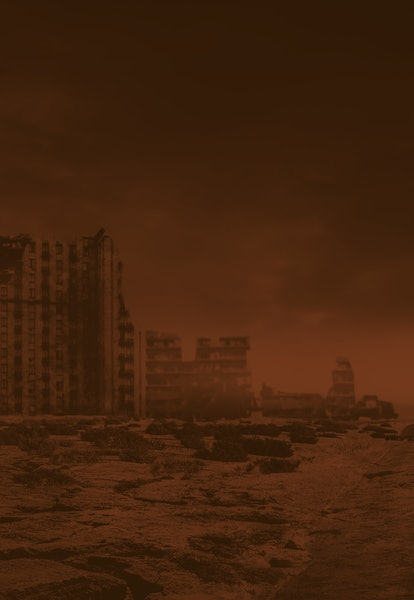 Post apocalyptic background image of desert city wasteland with abandoned and destroyed buildings, c...