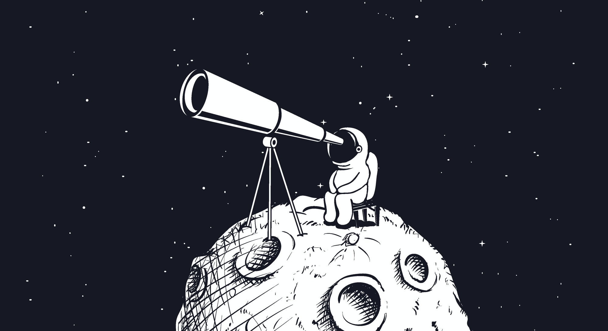 astronaut looks through the telescope to universe on abstract Moon.Hand drawn style.Space vector ill...