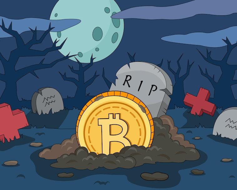 Bitcoin crash cartoon illustration. Bitcoin death gravestone. The collapse of the price of bitcoin. ...