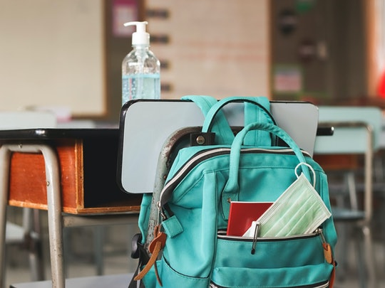 COVID-19 prevention , back  to school  and new normal  concept.School backpack with school supplies ...