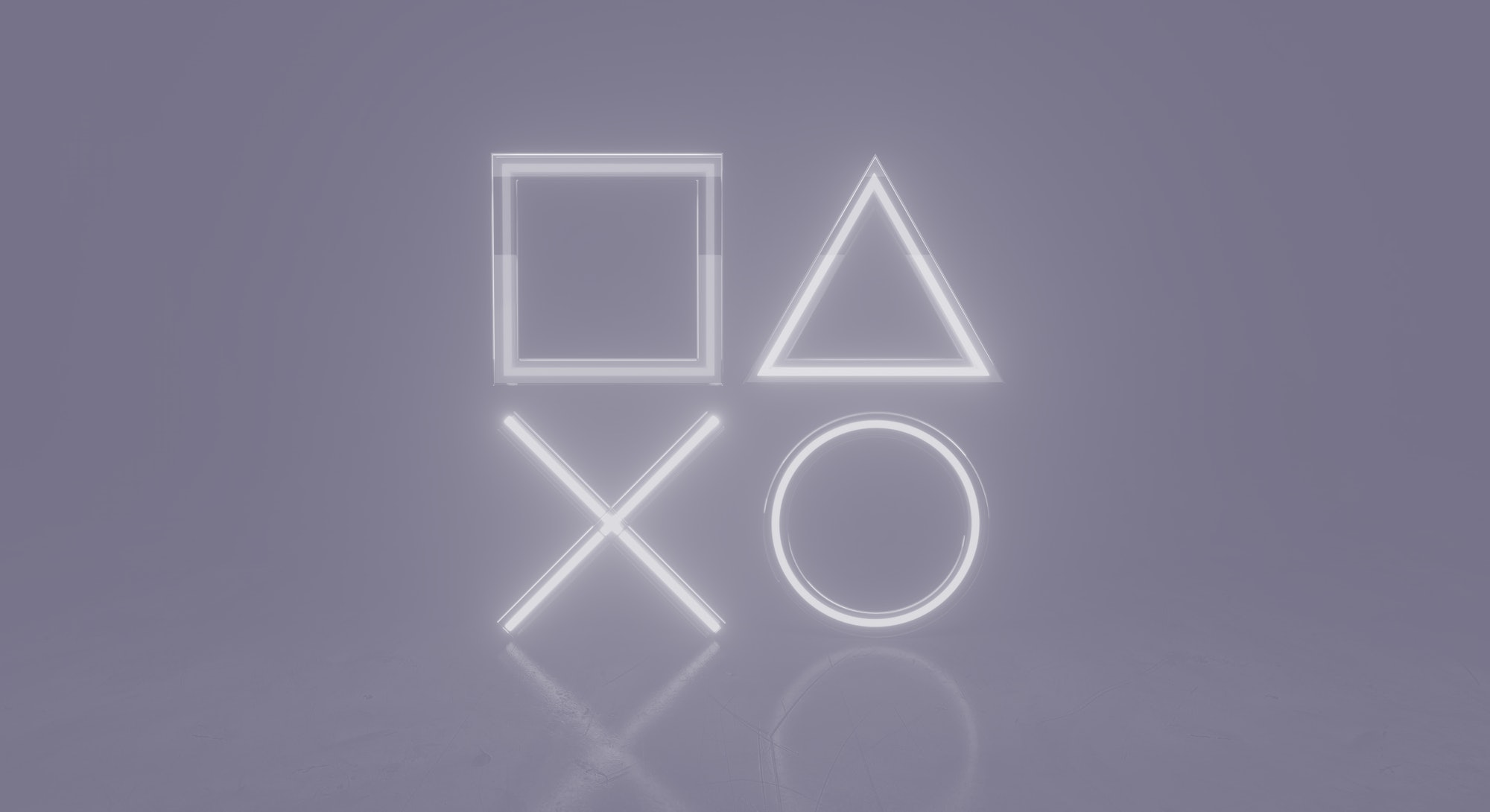 Geometry Neon lights in the room with Modern Blue Ambient lights background. Game symbols playstatio...
