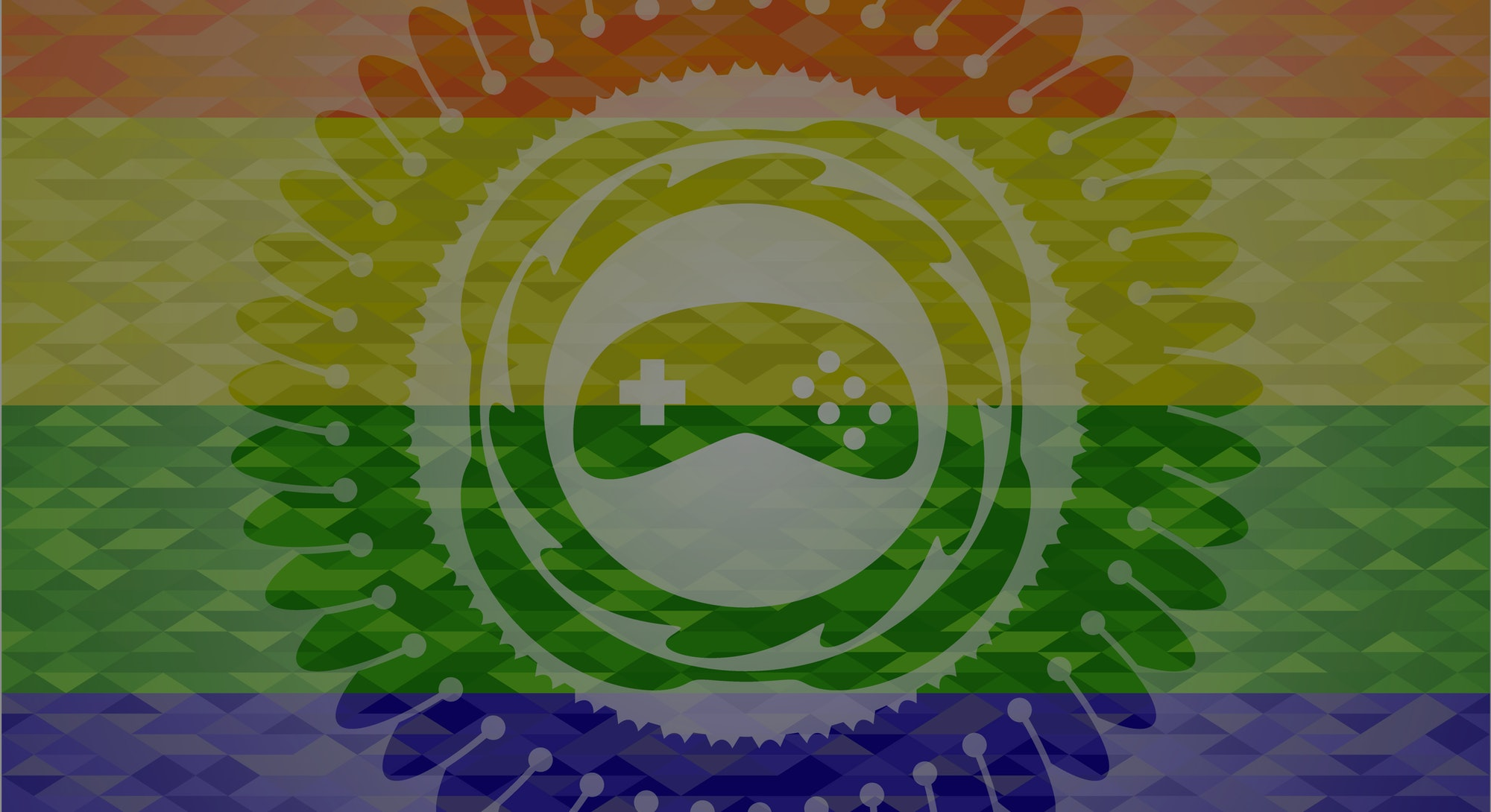 video game icon on mosaic background with the colors of the LGBT flag