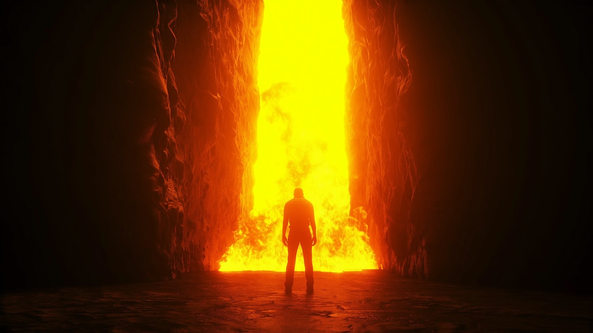 Sinner. A lonely sinfull man stands in front of a hell gates. Hell fire. Religious concept. 3d rende...
