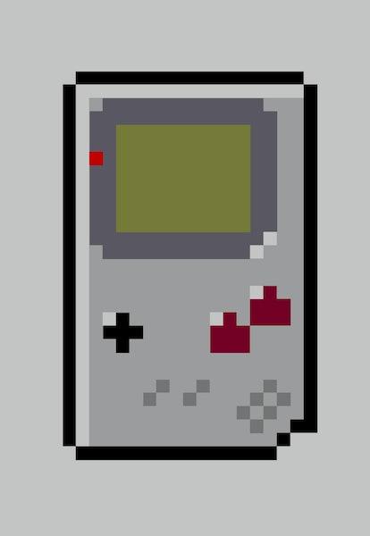 Retro Hand Held Video Game Console 8bit Pixel Art