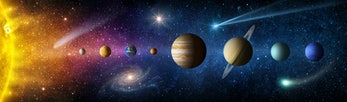 Sun, planets of the solar system and planet Earth, galaxies, stars, comet, asteroid, meteorite, nebu...