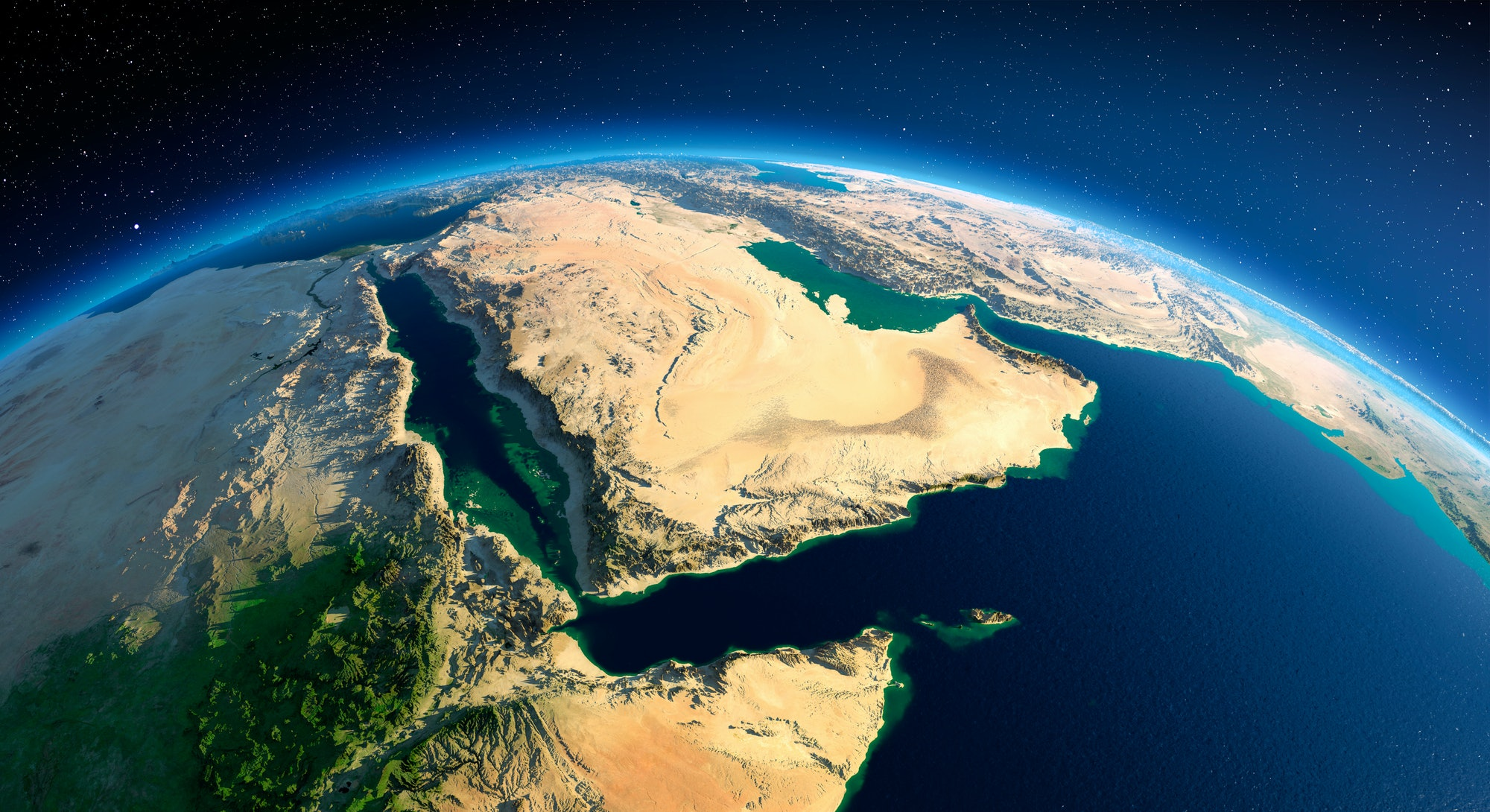Highly detailed planet Earth in the morning. Exaggerated precise relief lit morning sun. Arabian Pen...