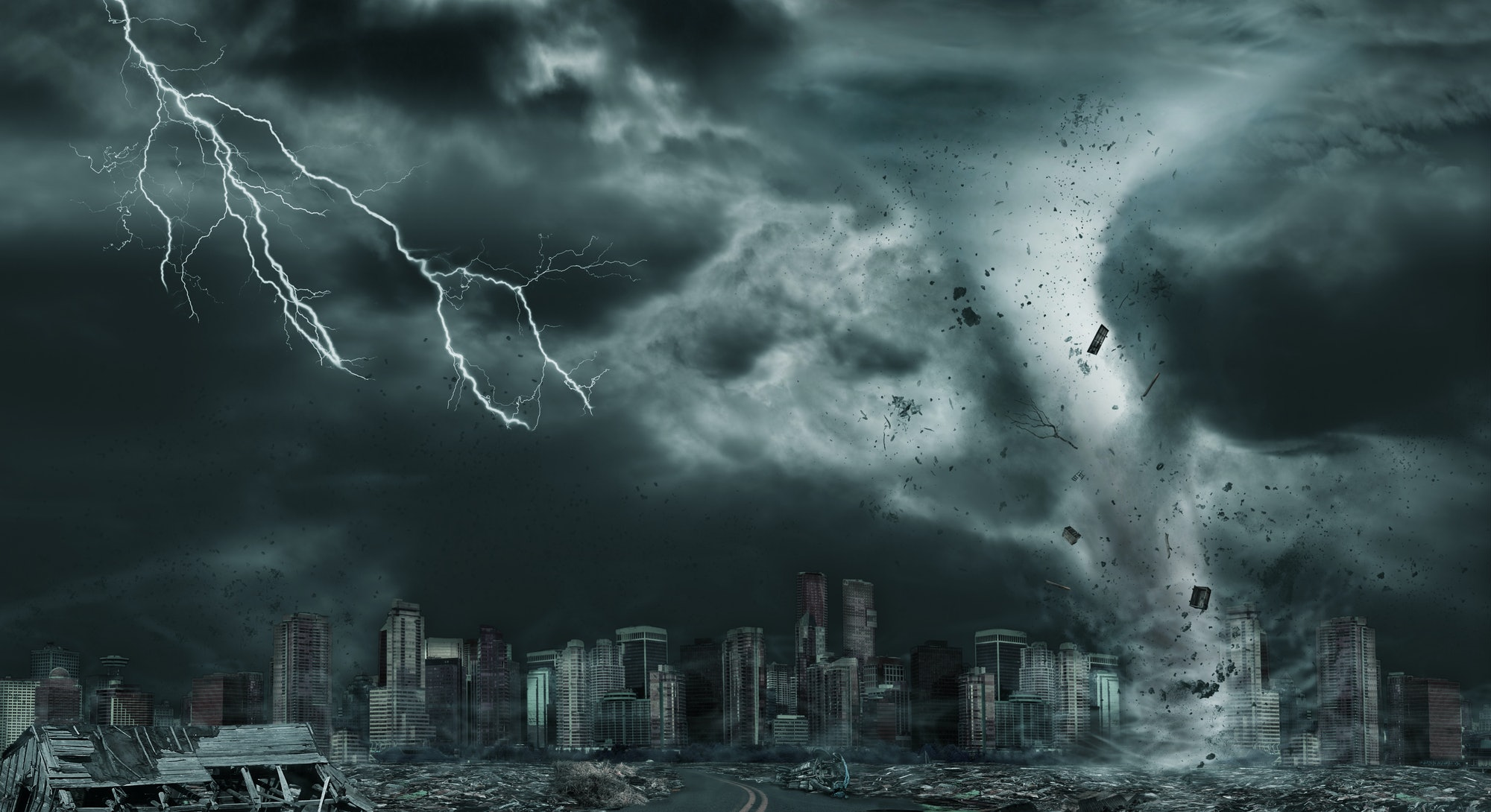 3D illustration of tornado or hurricane's destruction along its path toward fictitious city with fly...