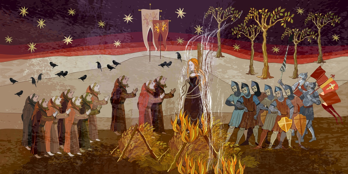 Medieval scene. Inquisition. Burning witches. Middle Ages parchment style. Joan of Arc (Jeanne d'Arc...