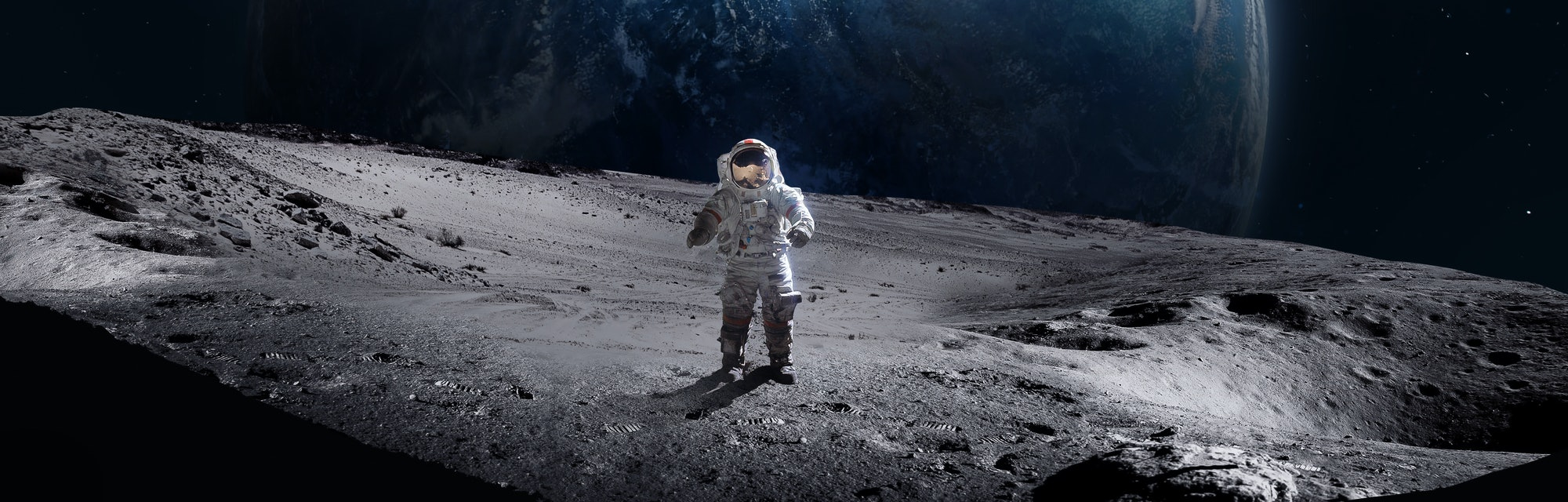 Astronaut on the surface of Moon. Planet Earth on the background. Apollo space program. Elements of ...