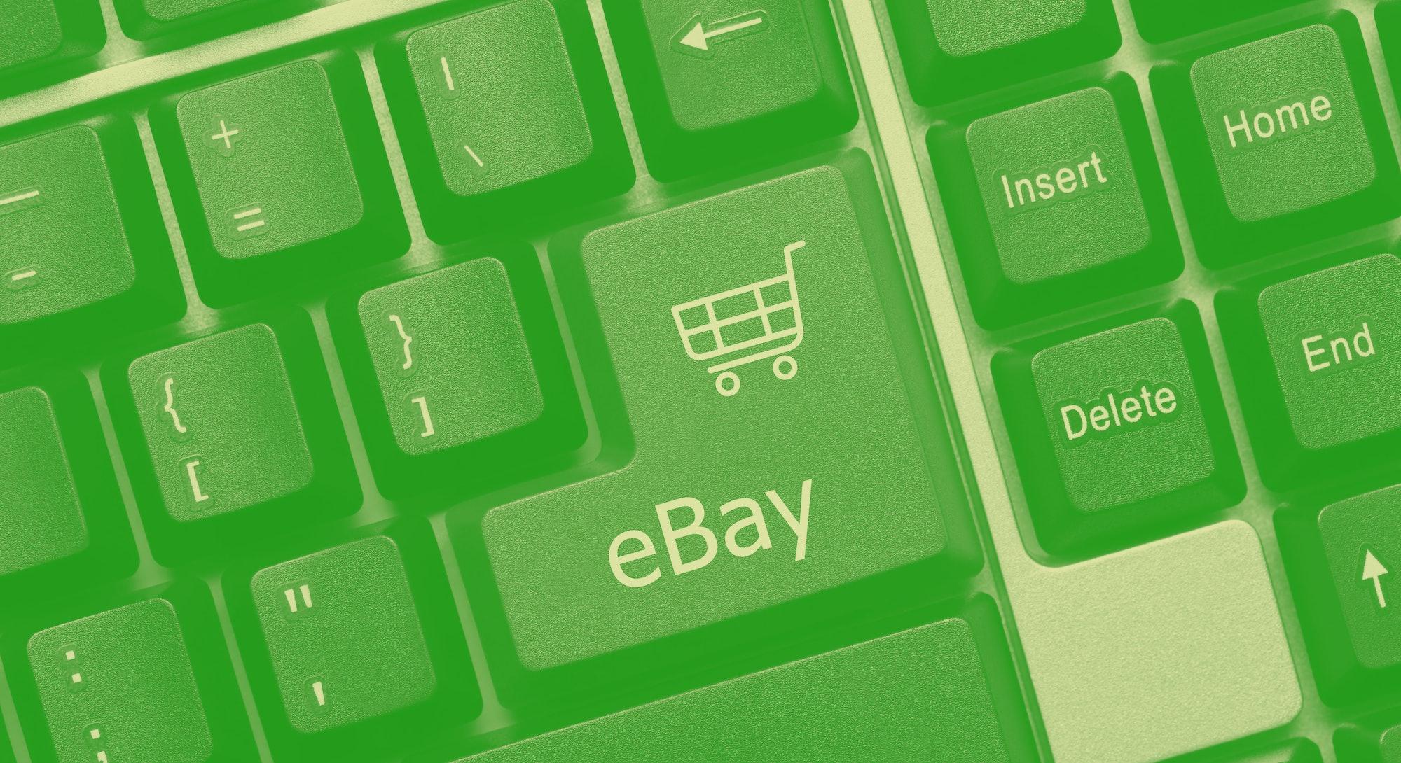 Close-up view on conceptual keyboard - eBay (green key)