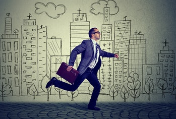 Running employee business man
