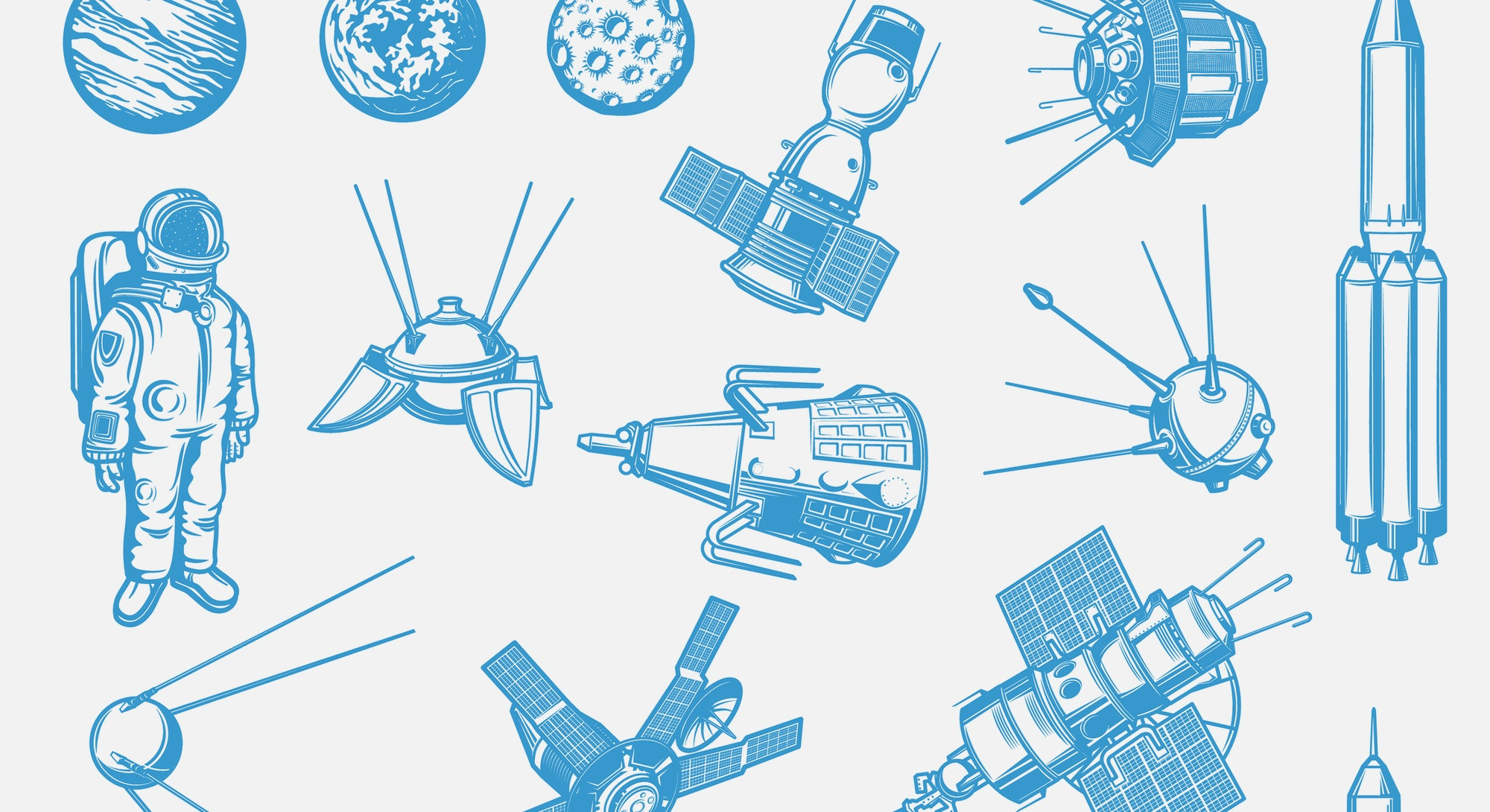 Space exploration, galaxy research spacecraft and satellites icons set. Astronaut in spacesuit, arti...