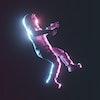 Astronaut cyberpunk neon background concept. 3d rendering.