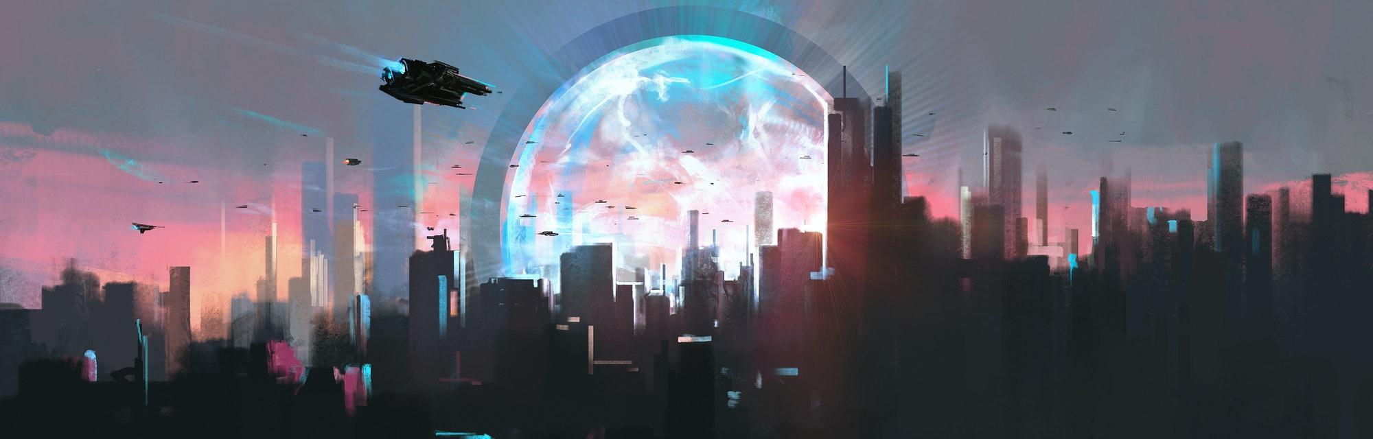 Space-time shuttle device in the city, 3D illustration