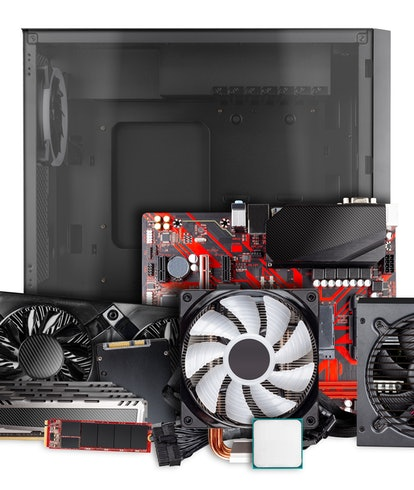 All parts and components for modern desktop computer. Mainboard power supply RAM M2 SSD hard disk CP...