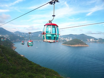 Attraction scenery high angle view of South China Sea, Island and surround hills from Hong Kong Ocea...