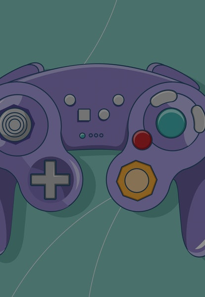 Game controller style wireless purple vector illustration.
