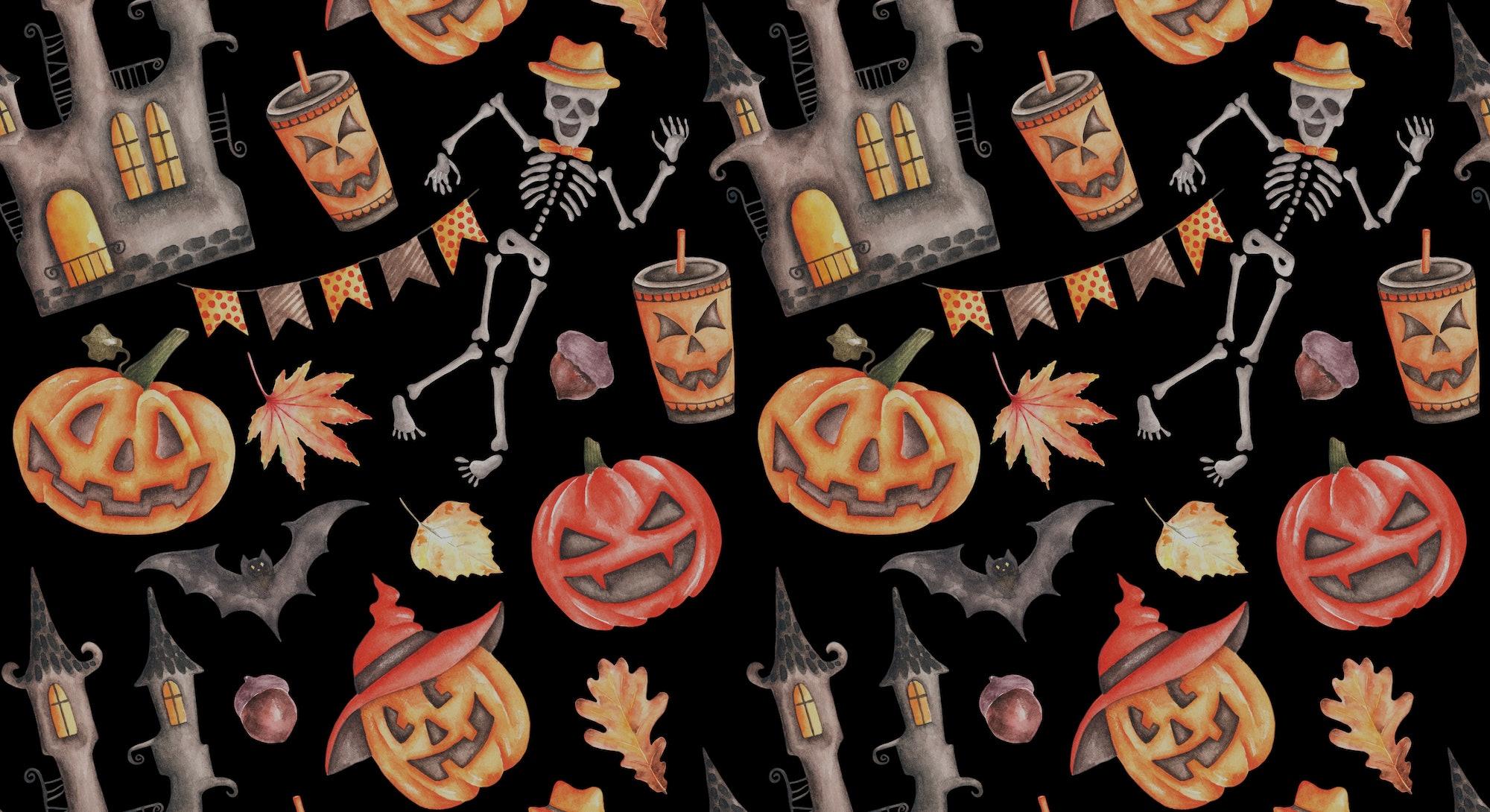 Halloween watercolor seamless pattern. Halloween carved pumpkins. Scary castle. Skeleton. Halloween ...