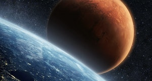Blue planet earth with lights of night cities, view from space. Red Planet Mars in the starry sky. T...