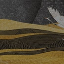 Art landscape background with gold texture vector. Japanese hand drawn wave pattern with crane birds...