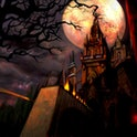 medieval castle with trees and moon behind castlevania castle