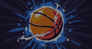 Vector illustration of a basketball on fire, with a dynamic dark background, a flaming basketball, e...