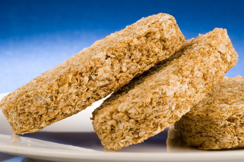 Close up of a wholesome wheat biscuit breakfast
