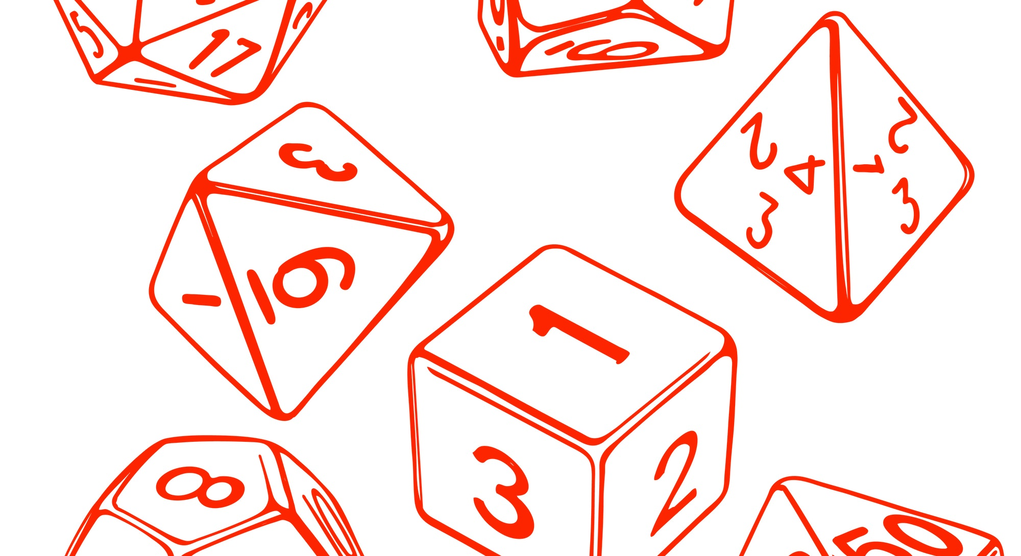 collection of dice for role-playing games isolated on white background hand drawn vector illustratio...