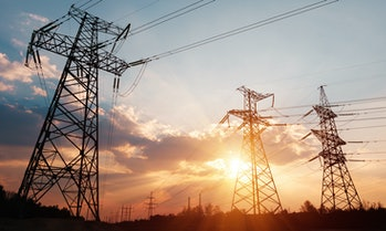 High-voltage power lines. Electricity distribution station. high voltage electric transmission tower...