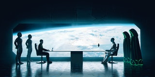 Humans and Aliens at the table of the diplomacy discussing how to live together peacefully in the ga...