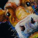 Pastel portrait painting of cow. Modern art.