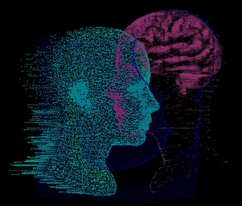3D Illustration Human Brain Anatomy made of Pixels and Particles For Neural network and Machine Lear...