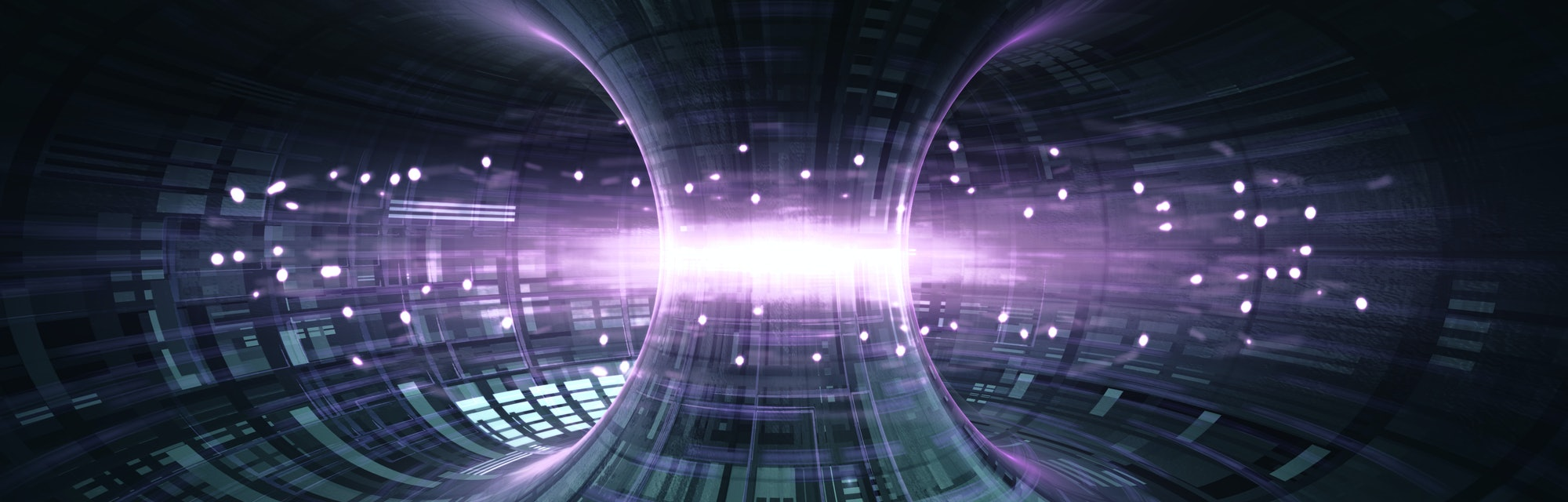 High Energy Particles Flow Through A Tokamak Or Doughnut-Shaped Device. Antigravity, Magnetic Field,...
