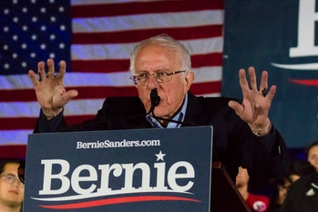 FEB 21, 2020, LAS VEGAS, NEVADA, USA - Democratic Senator Bernie Sanders speaks at Presidential Rall...