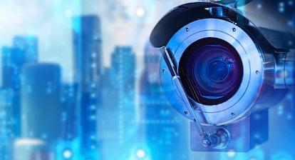 Anti-vandal surveillance system. Outdoor CCTV camera close-up. CCTV camera symbolizes surveillance. ...