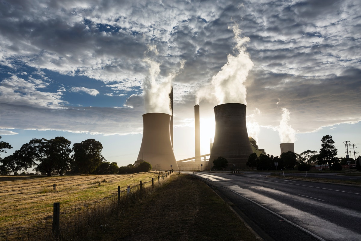 Smokestacks and cooling towers of coal fired power plants.