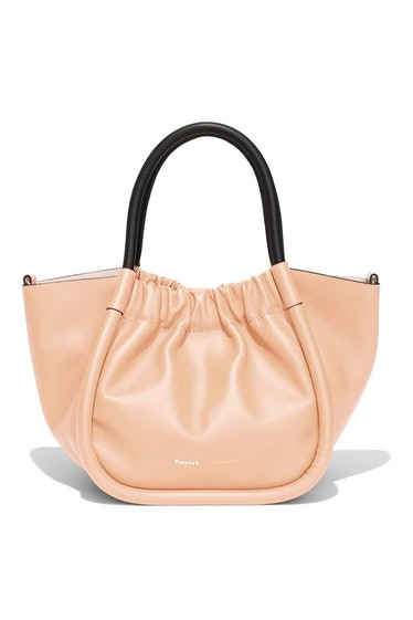 Small Ruched Smooth Leather Tote in Peach: image 1