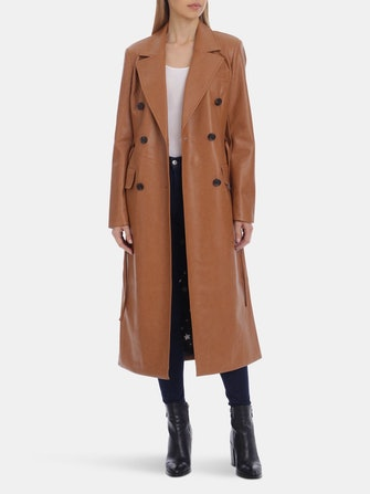 Belted Faux Leather Trench: image 1