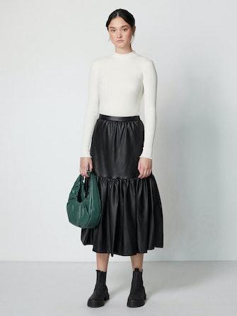 Orchid Vegan Leather Midi Skirt: image 1