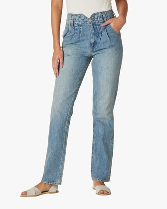 Pleated Denim Jeans: image 1