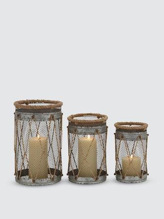 Rustic Rope Candle Lanterns, Set Of 3: image 1