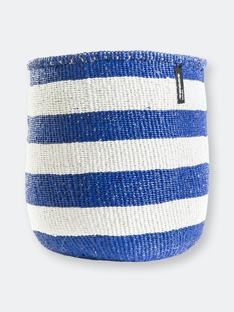 Mifuko - Medium Basket with White and Blue Stripes: image 1