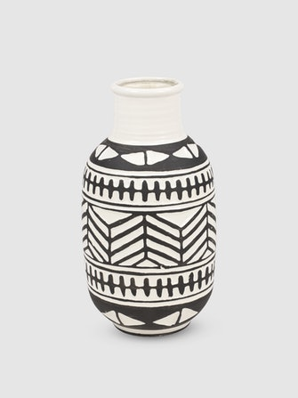Geometric Black And White Ceramic Vase: image 1